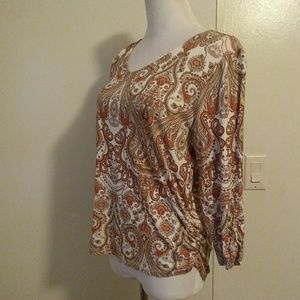 Chico's size 1 paisley prints ruched top